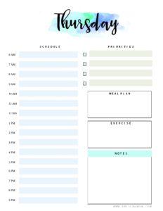 thursday planner