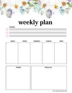 лист планера на неделю - 1