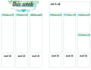 weekly planner pages - 1