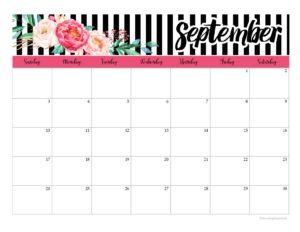 шаблон календаря на сентябрь