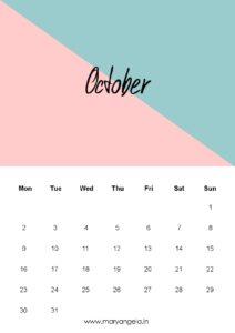 календарь - октябрь 2017
