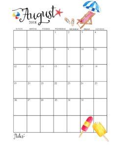 календарь 2018 - август