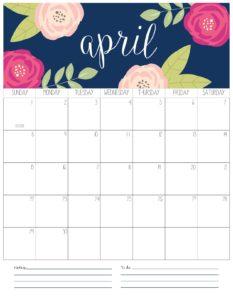 вертикальный календарь 2018 - апрель