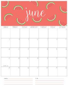 вертикальный календарь 2018 - июнь