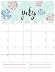 вертикальный календарь 2018 - июль