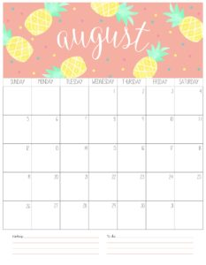 вертикальный календарь 2018 - август