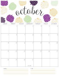 вертикальный календарь 2018 - октябрь