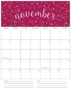 вертикальный календарь 2018 - ноябрь
