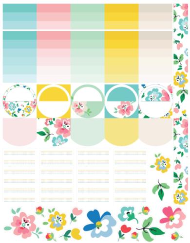 стикеры для ежедневника цветочные