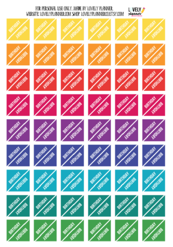 стикеры для ежедневника - напоминалки о днях рождения