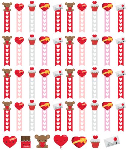 стикеры для планера на День Святого Валентина
