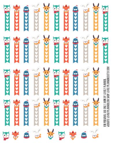 стикеры для ежедневника - зимние животные