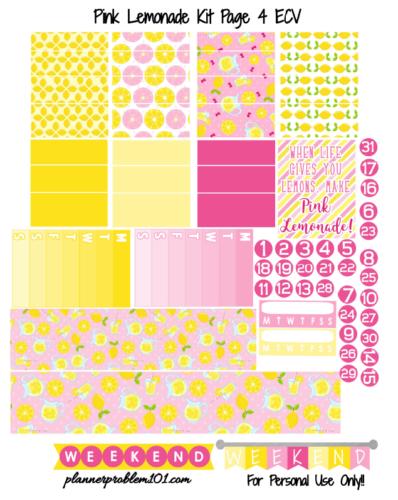 наклейки для ежедневника - распечатки pink lemonade