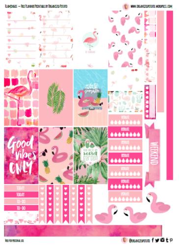стикеры для ежедневника - фламинго