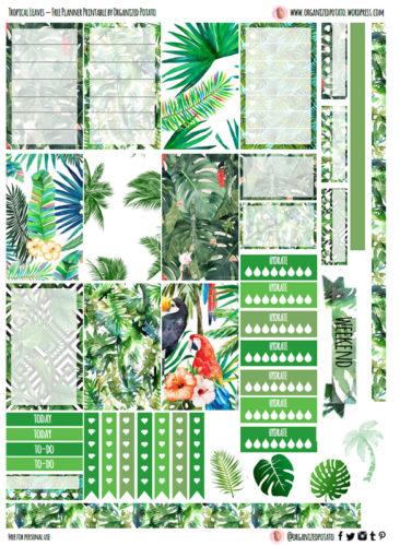 летние наклейки для ежедневника - тропики