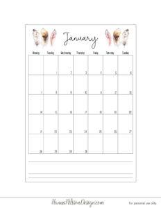 Календарь-планер с понедельника - январь