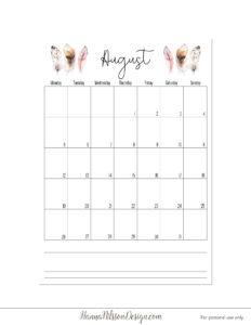 Календарь-планер с понедельника - август