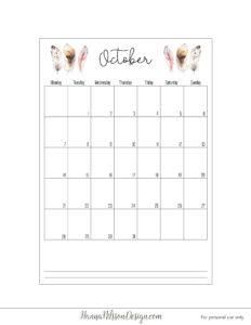Календарь-планер с понедельника - октябрь