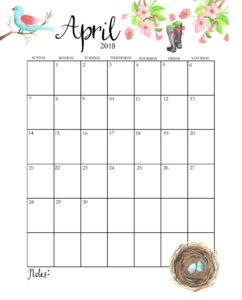 Календарь-планер на апрель 2019