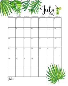 Календарь-планер на июль 2019