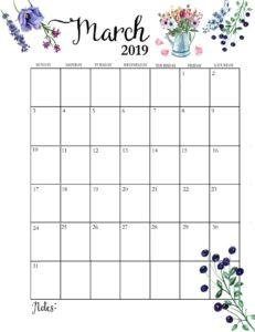 Календарь-планер на март 2019
