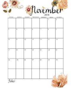 Календарь-планер на ноябрь 2019