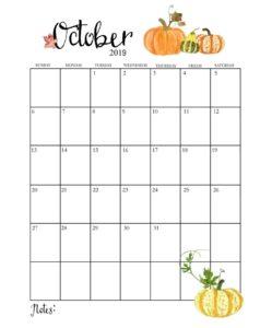 Календарь-планер на октябрь 2019