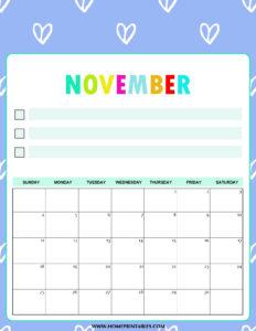 Вертикальный календарь на ноябрь 2018